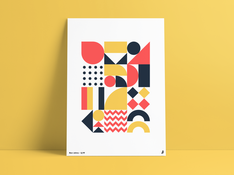 Geometric Poster #6 primary colours portfolio vector pattern grid illustration shapes poster art poster geometric