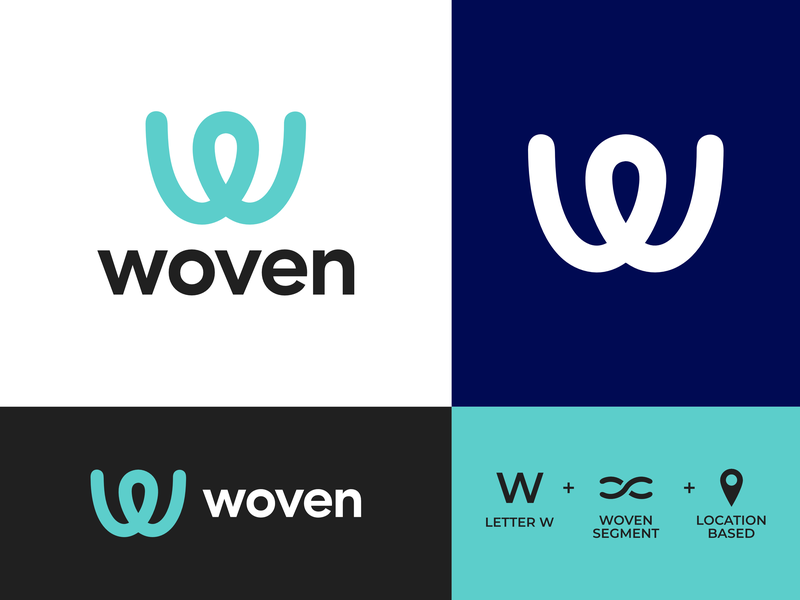 Woven - Social media app (Daily Logo Challenge - Day 34) negative space simple branding concept dlc dailylogochallenge letter w sofia pro location app design social media icon logo app woven