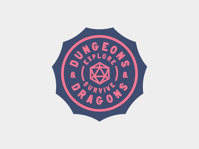 Dungeons & Dragons Badge branding dice kernclub typography icon type badge dnd dungeons  dragons badge logo