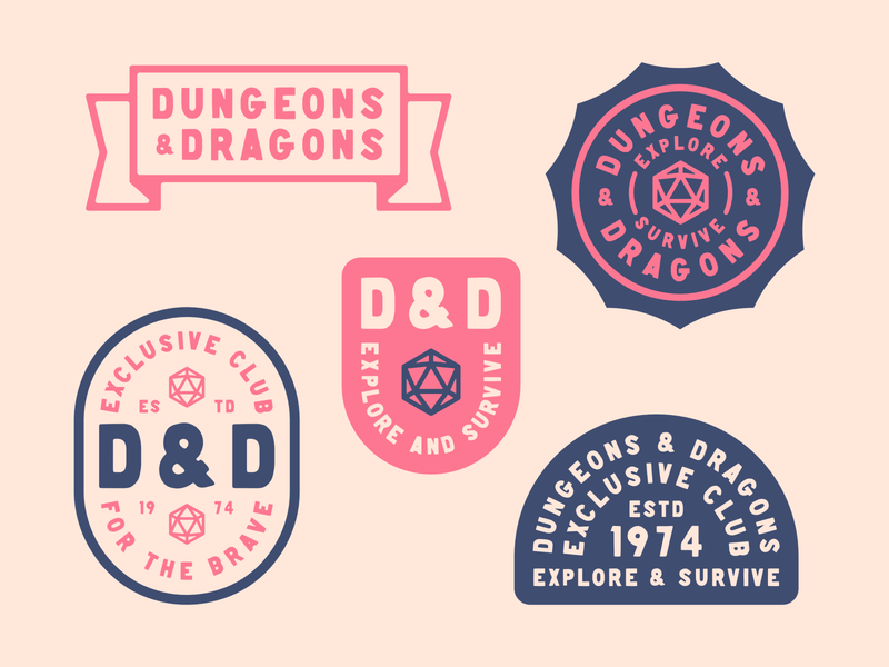 Dungeons & Dragons Badge Collection typography kern club roleplaying board game d20 icon banner illustration branding symbol dungeonsanddragons badge logo dnd