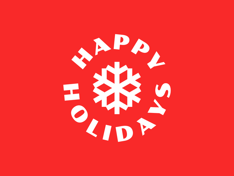Happy Holidays! christmas card vacation red winter font snowflake icon badge holidays christmas
