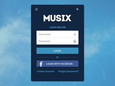 Musix login screen musix login idea ui
