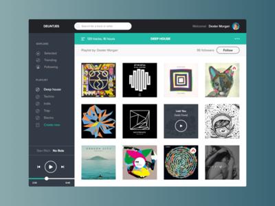 Deuntjes v2 design ui user interface minimal flat music house soundcloud