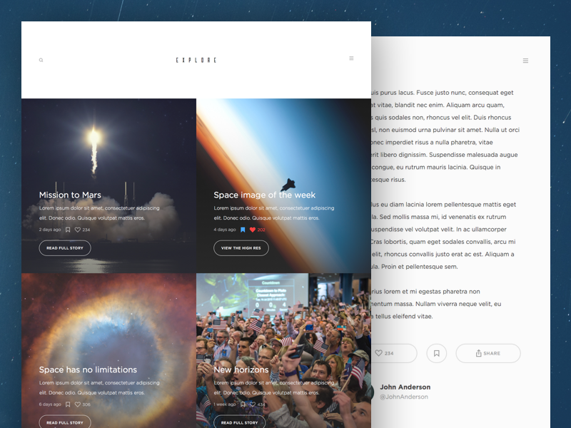 Explore Space Blog news ui website explore blog space exploring