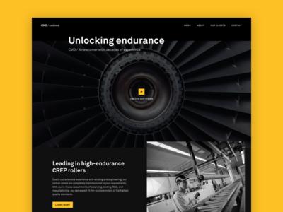 CMD website single page one page ui black dark bold videoheader industry technology redesign website design