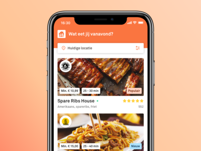 Thuisbezorgd app redesign iphone x iphone ios user interface ui restaurants delivery app food delivery takeaway app thuisbezorgd