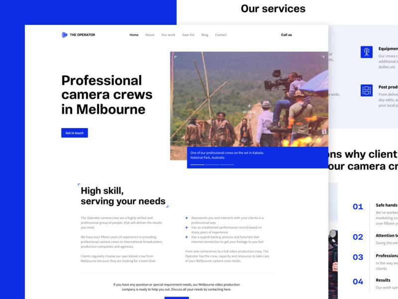 The Operator Camera Crew photography videography camera crew camera contemporary minimal design ui website user interface webdesign