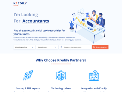 Landing Page for Kredily Partners branding graphic design start page landing page product interface adobexd minimal clean ui  ux ui