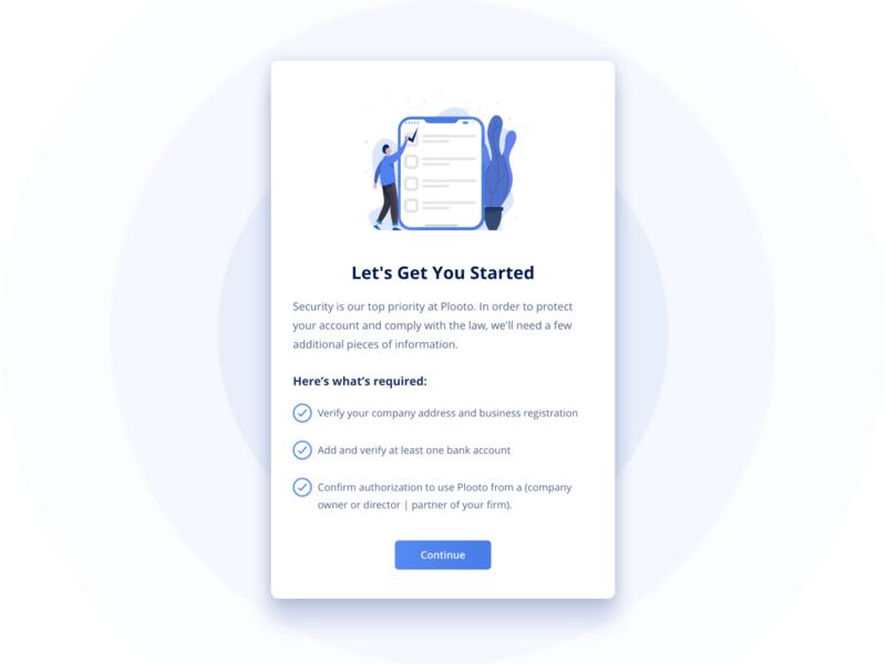 Plooto Dashboard - Welcome Screen Pop-Up app branding product ux interface minimal clean ui design ui  ux