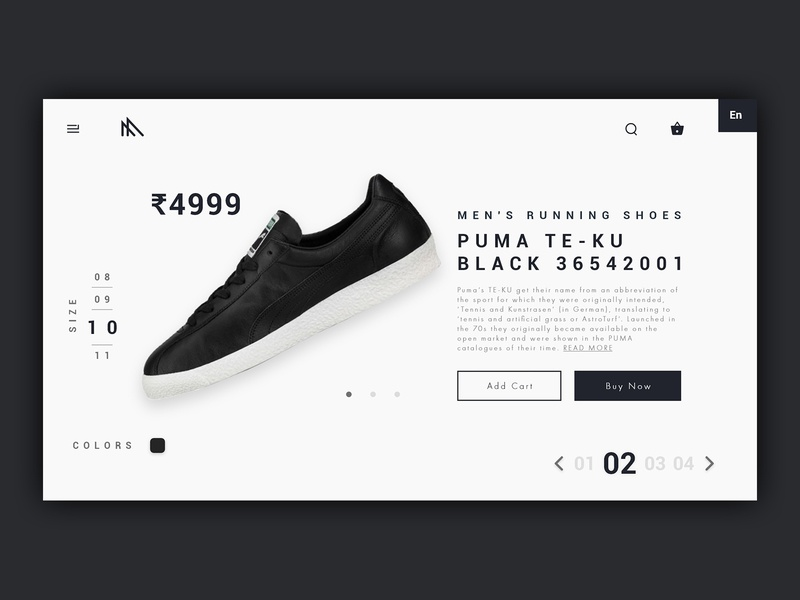 PUMA Online Product View - Redesign product ui  ux webdesign ui
