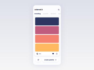 colored.it popular trending screen color palette colors adobexd iphone ux minimal clean design daily ui app ui  ux ui