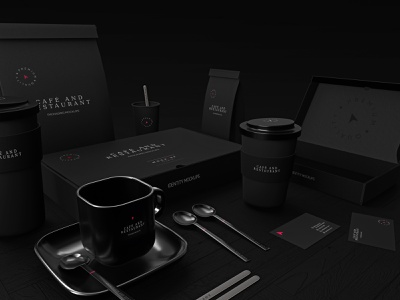 Café & Restaurant packaging Mockup coffee coffee cup cardboard pack cafe logo box package 3d mockup black modern clean