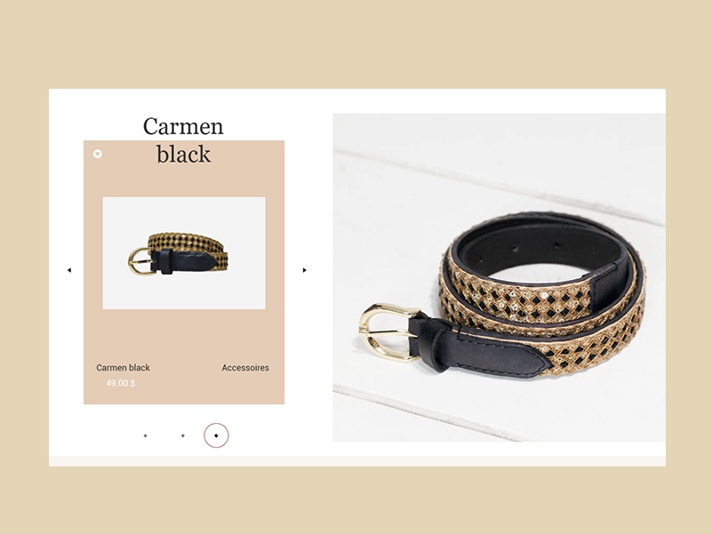 Carmen black accessories typography website design ui web дизайн