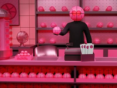 Yes hello, one Dribbble please! debutshot debut store shopkeeper shop here new im hello pink blender 3d