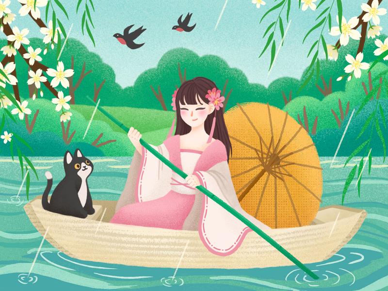 Qingming Festival rain cat spring festival 女孩