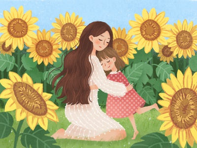 Mother's Day illustration girl sunflower mothers day