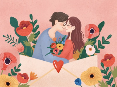So in love boy girl love flower illustration valentines day lovers