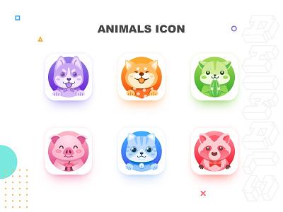 Animals Icon 1 raccoon hamster pig cat dog icon animals