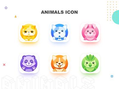 Animals Icon illustration ui icon bird dog panda rabbit cat animal