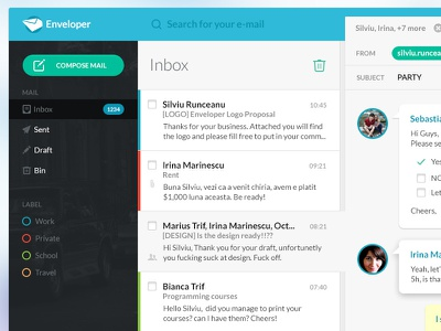 Inbox blue green ui ux mail email web app dark multiple answers inbox