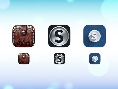 Silver App silver app ios apple leather coin shadow blue white grey cards wallet