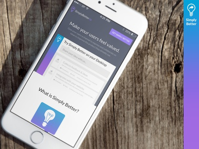 [Simply Better] Responsive Landing Page web app mobile responsive ui ux tag feedback tool flat