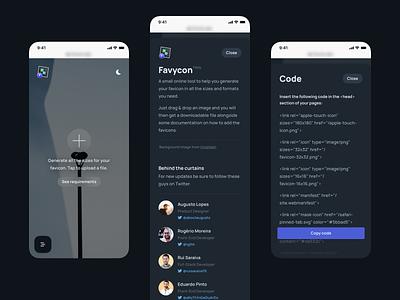 Favycon — Responsive dark ui uxui design tool interface code safari web icon favicon ios dark mode dark mobile app