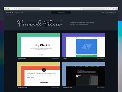 Personal & Agencies Portfolios Collection cards dark mode dark web collection brand agency product designers website portfolio folio personal