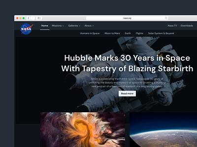 Nasa Homepage flights missions astronaut earth void space image redesign dark mode dark typography sans dm sans homepage nasa