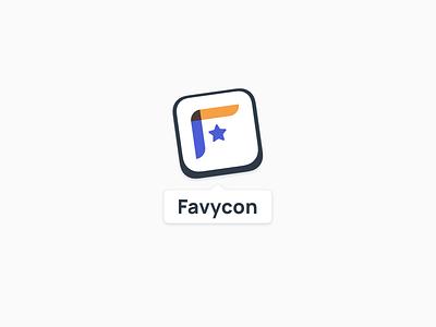 Favycon Logo star yellow blue web app app logo logos logo design tag white clean square colors favycon app brand logo