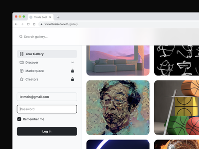 This Is Cool login page login icon set icon family icons simple art search gallery foundation artwork nft black interface design white minimalism minimal clean ui interface