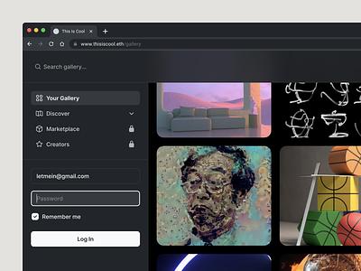 This Is Cool (Dark version) icon family login page login icon set icons artwork simple art search gallery foundation nft darkmode dark white minimalism minimal clean ui interface