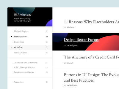 UI Anthology group minimal interface clean articles white space planets anthology ui