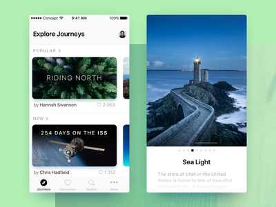 Them journeys ios mobile concept app photos journey travel blue