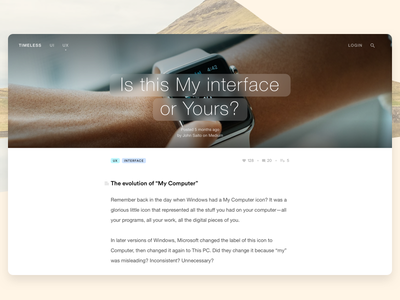 Timeless Articles text timeless ui medium interface ux article