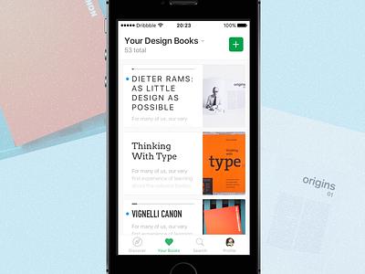 Books App app mobile design green white books clean minimalist
