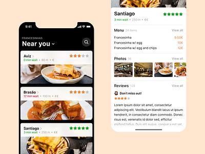 Francesinha App restaurant mobile iphone ios francesia food food app dark apple app