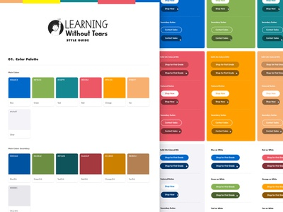 Learning Without Tears Style Guide design system themes ui style guide ui elements ui design typography guide color palette style guide