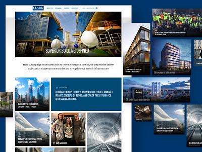 Clark Construction Homepage interface building construction megafooter social media lego block modular flexible system ux design ui design web design home page