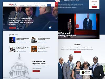 AALU Home homepage blue advocacy insurance diversity event responsive association desktop web design ui design politics home page advertising