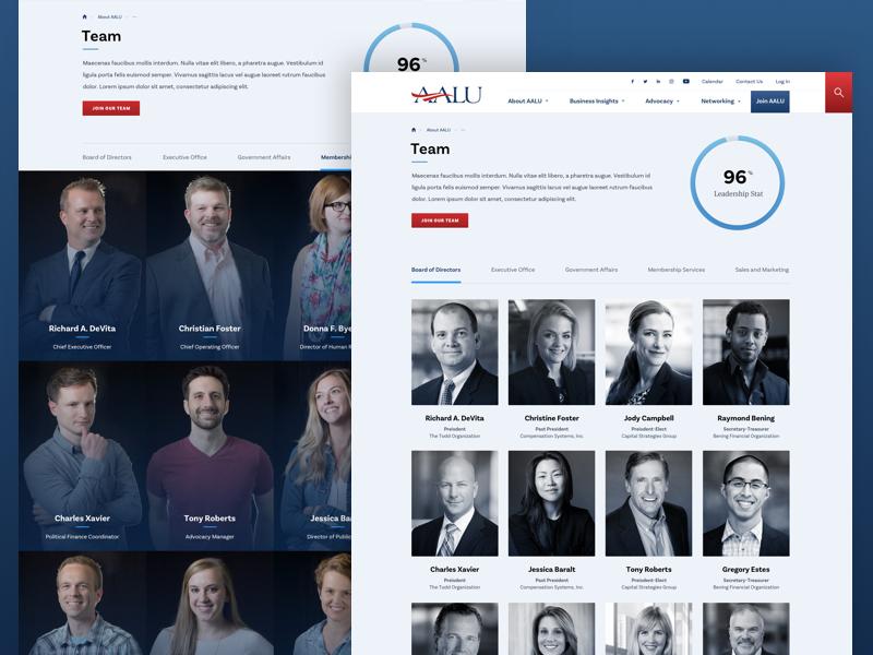 AALU Team insurance diversity event responsive association desktop web design ui design politics interior page advertising advocacy