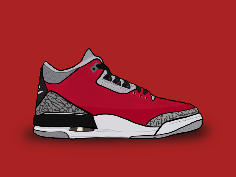 "Quarantine Shoe Illustration #7 - Air Jordan III ""Chi"""