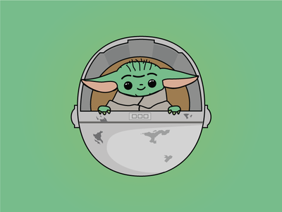 Baby Yoda Charm baby starwars star yoda vector art design illustration sticker