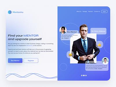 Simple Hero Section learning app learning e-learning blur gradient landingpage webdesign web design app ux design uidesign design