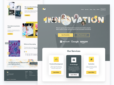 Innov Agency Landing Page ui uxui tech agency webdesign web clean minimalist landingpage yellow blur gradient ui design