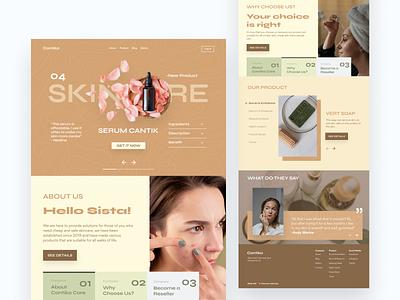 Skincare Cantika Landing Page ux ui skincare page web webdesign ux design company profile skincare landingpage ui design ui design