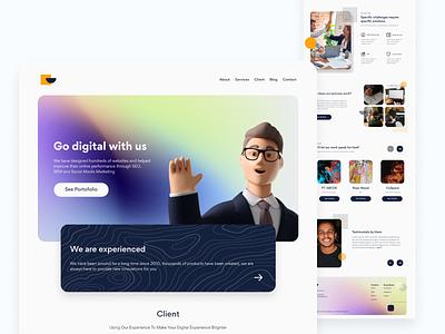 [Freebies] Landing Page Agency figma free landing page design ui web gradient webdesign landingpage agency download free freebies