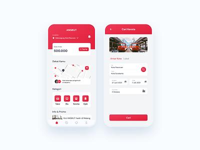 Transport App minimalist clean ojek online taxi app taxi online booking bus mobile app bus app train app transport app mobile app design design app ux  ui ux design uidesign design