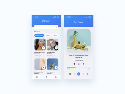 Podkes App minimalist audiobook podcast app mobile app design design app ux  ui ux design uidesign design blue mobile podcast app