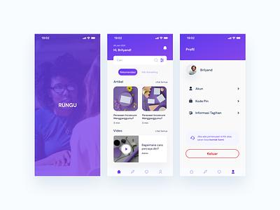 Rungu App ui clean clean design mobile online health app mental health mobile app design design app ux  ui ux design uidesign design